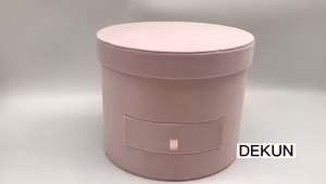 Cylinder Round Valentine's Day Flower Gift Box with Drawer and Lid