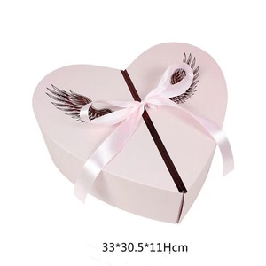 Custom Sweet Angel Design Heart Flowers Gift Box Cardboard Packaging Boxes with Ribbon Decoration for Rose or Chocolate