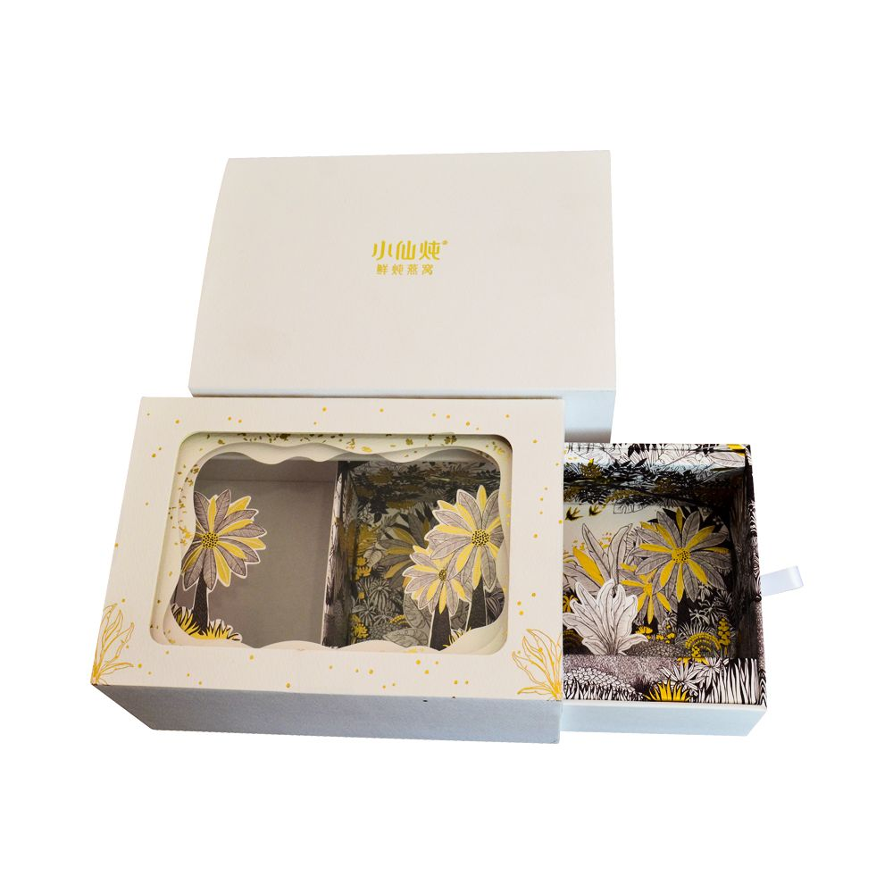 Luxury Slide Drawer Cut Flowers Food Paper Packaging Box with Window and Sleeve