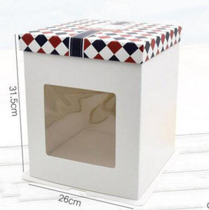 """6 """"8"""" 10 """" Window Opening Sugar Cake Double Layer Packaging Food Box"""