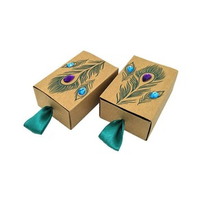Peacok Feather Kraft Paper Drawer Design Wedding Favors Gift Boxes China Manufacturer