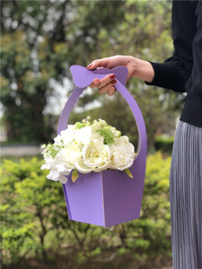 Gaily Decorated Basket Design Foldable Hanging Portable Flowers Packaging Gift Box