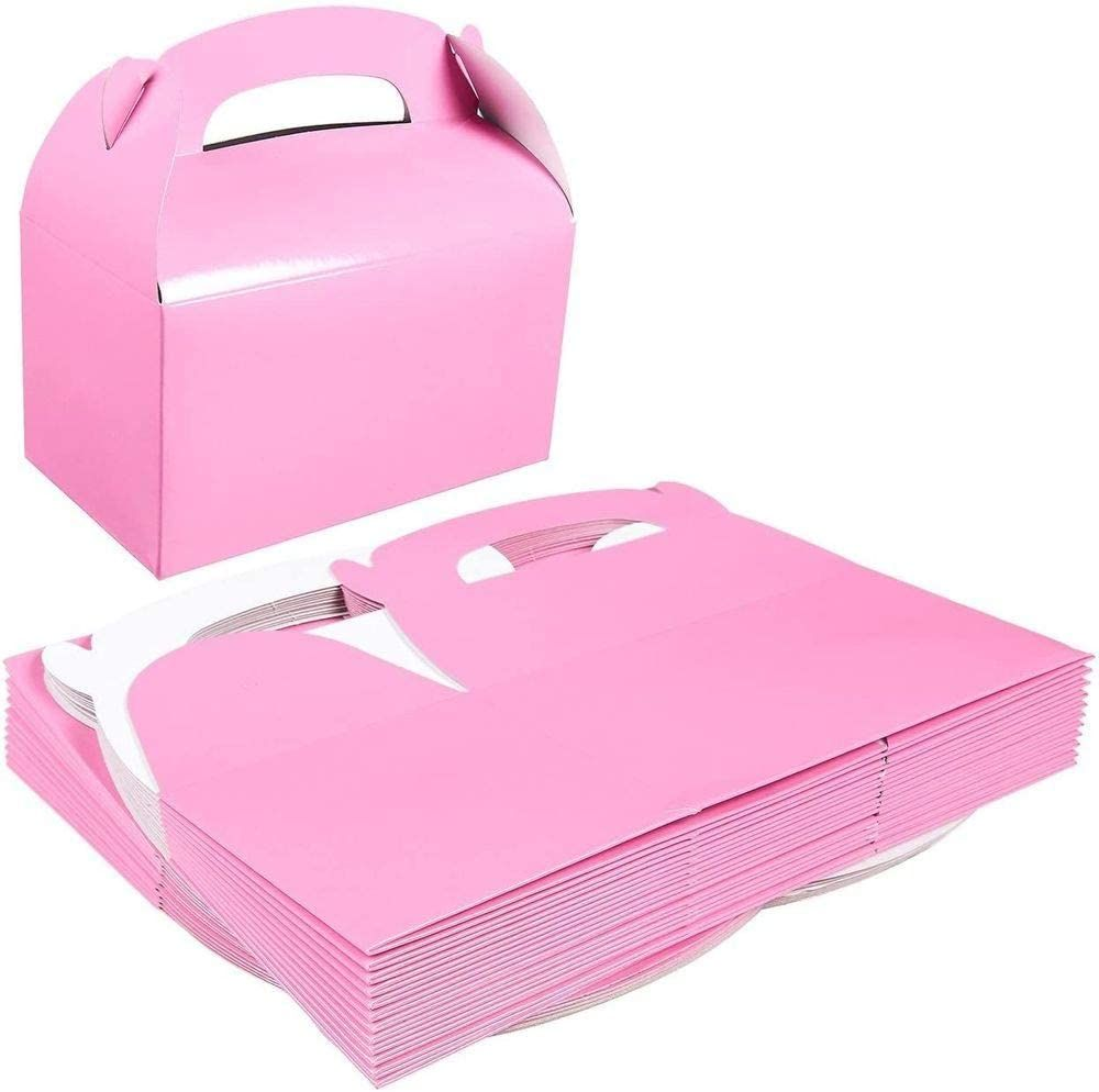 Pink Color Collapsible Paperboard Kraft Carring Gable Gift Boxes