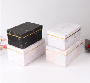Paper Gold Foil Edge White Marble Gift Rose Bouquet Packaging Boxes