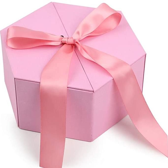 Pink Gift Box with Cover Ribbon