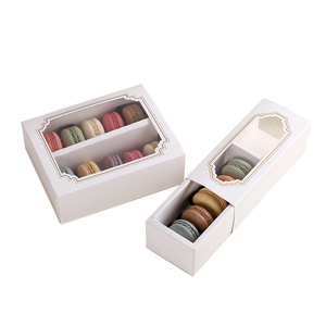 Art Paper Clear Window Six Macarons Packaging Chocolate Box Manufacturer