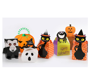 Wholesale children sweet bonbon chocolate gift paper packaging container halloween candy bags for kids