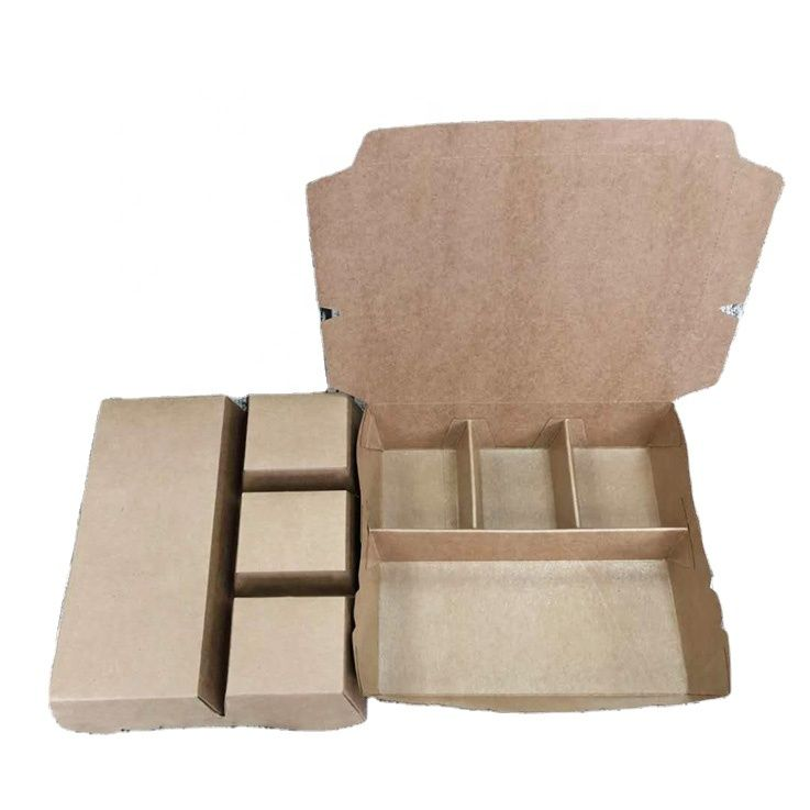 ECO Friendly Compartment Kraft Paper Food Conatainer Box Take-way Kraft Food Packaging