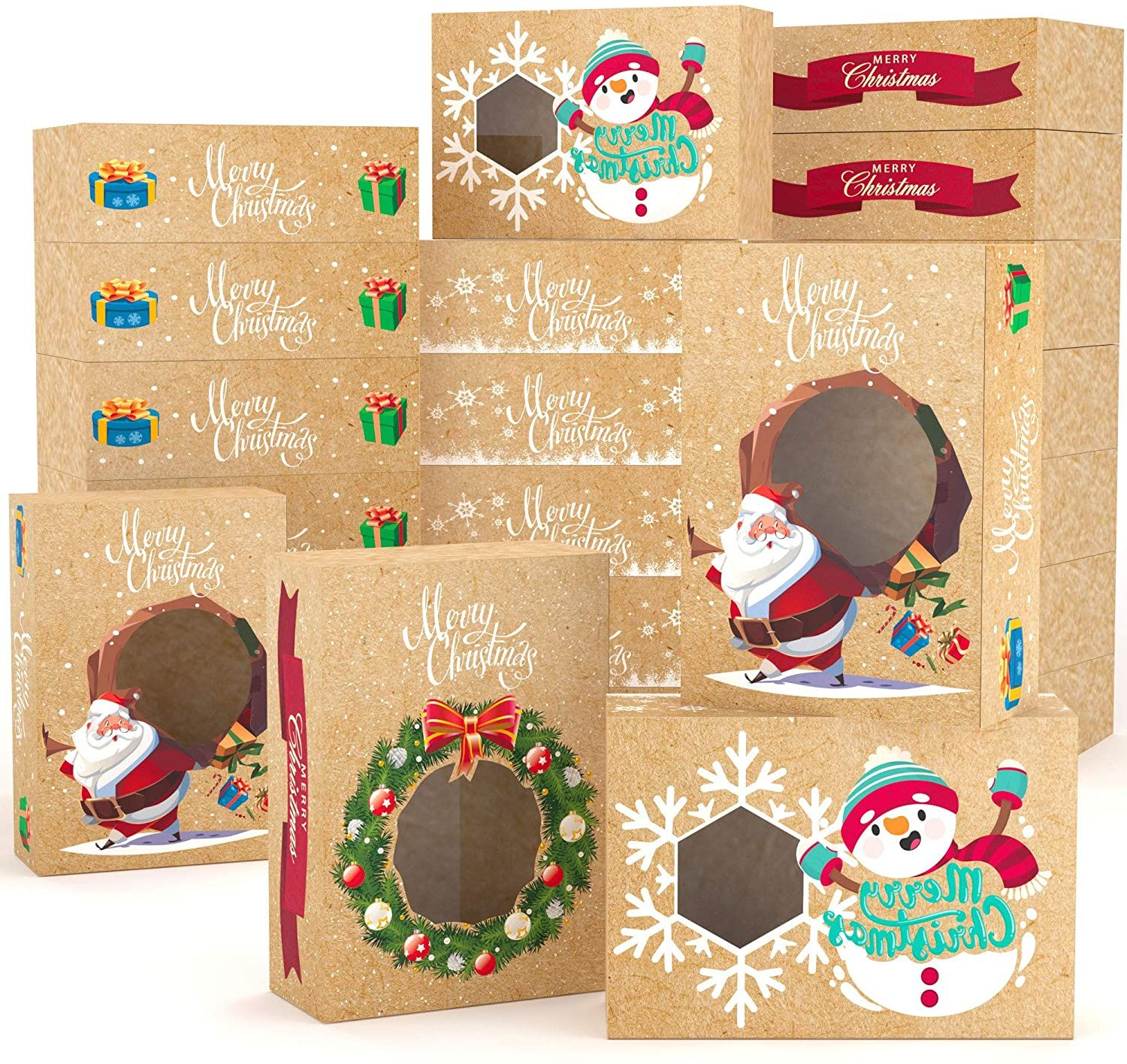Printing Kraft Paper Folding Box with Window for Christmas Holiday