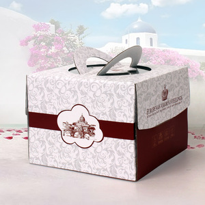 Favorable Party Corrugated Paper Cake Sweet Box Carrier with Handle Supplier