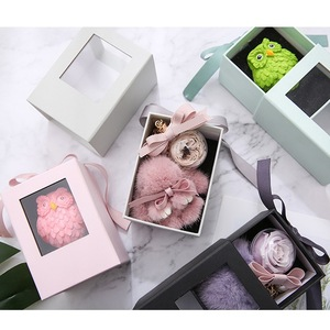 Fancy Mini Rigid Cardboard Slide Drawer Clear Window Gift Box for Soap Candle and Flowers