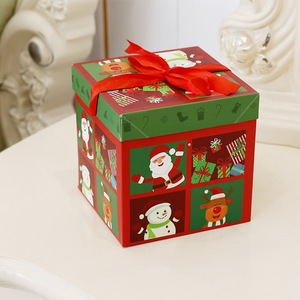 Decorative Flat Folding christmas Paper Gift Boxes with Lids for Toys Candy