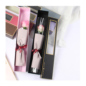 Gold Stamping Pretty Edge Paper Gift Box for Single Rose Flower With PET Window