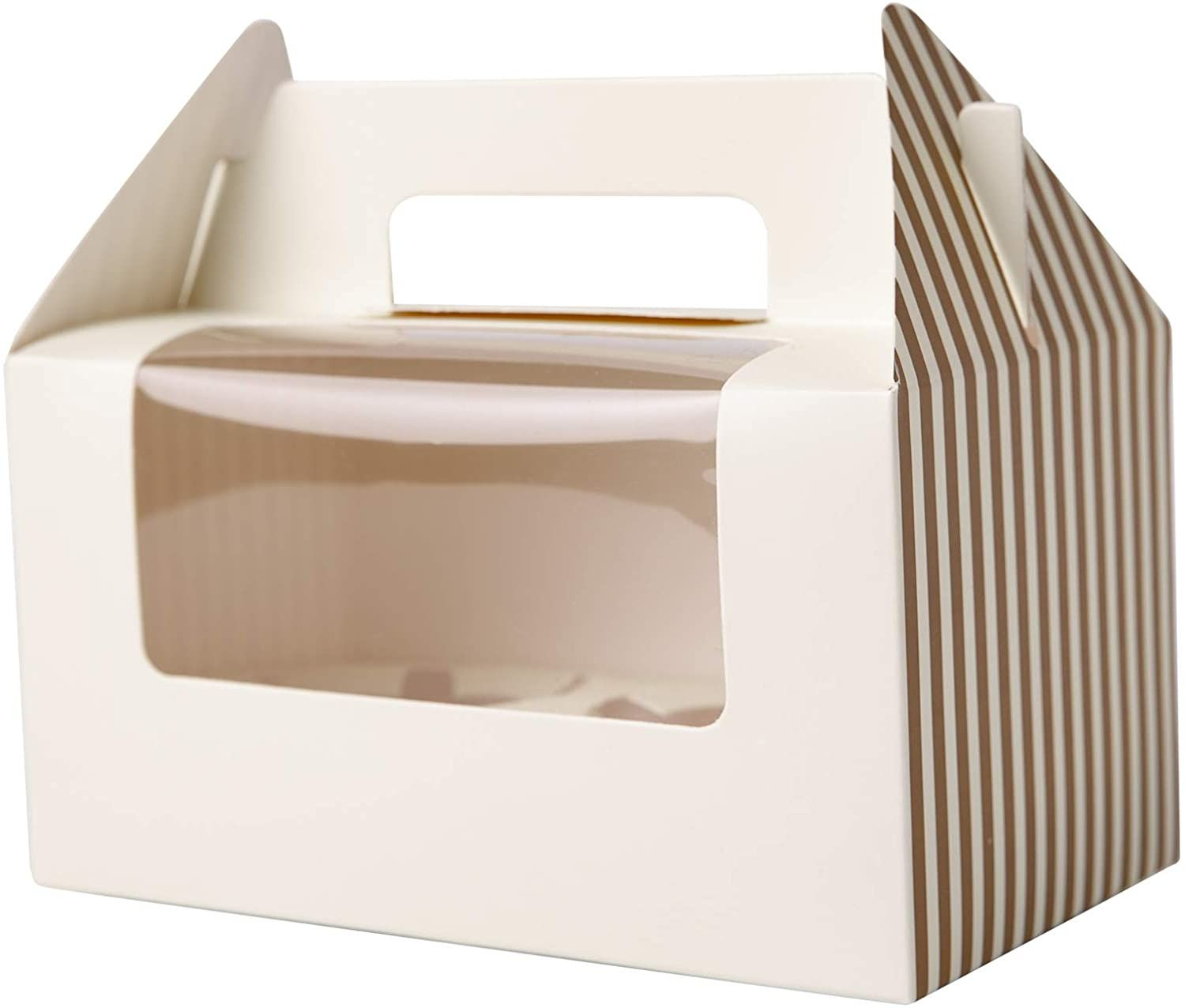 Paperboard Big Clear Window Collapsible Two Cupcake Carrying Gift Boxes Cupcake Holders Carrier