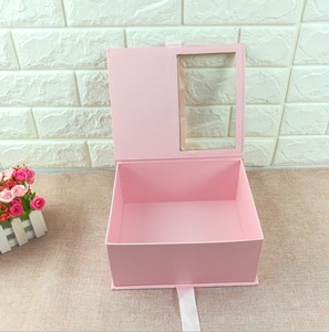 Rectangle Rigid White Color Luxury Cardboard Flowers Packaging Box With PET Window