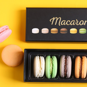Wholesale Square Rectangle Black Gold Foil Printing Cardboard Packaging Macaron Paper Box