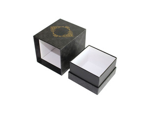 Rigid Lid and Base High End Black Cardboard Candle Packaging Boxes with Foam Insert