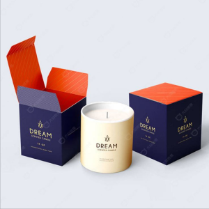 Custom Elegant Candle Jar Folding Boxes for Candles Flat With Gold Foil Logo Wholesale