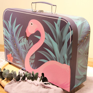 Small Cardboard Children Gift Packaging Plastic Handle Paper Suitcase Box
