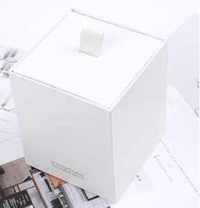 Gold stamping logo white rigid drawer candle box packaging luxury