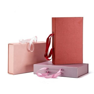 Rigid Cardboard Folding Paper Box with Handle Bra Box Lady's Underwear Packaging Box