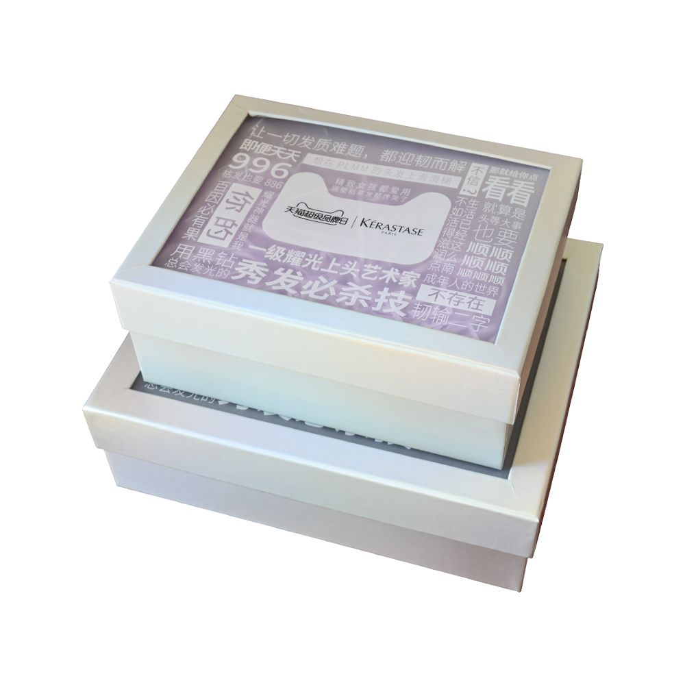 Rigid Paper Packaging Box with Window on Lid