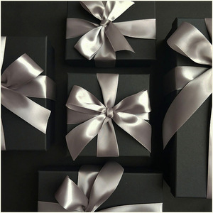 Luxury Cardboard Black Rectangle Gift Perfume Packaging Jewelry Box With Ribbon Supplier