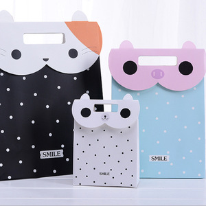 Luxury Animal Shape Coated Black Blue White Pink Custom Logo Cartoon Presents 3d Funny Paper Bag For Gifts