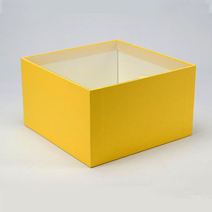 Black Blue Yellow Three Colors Paper Gift Packaging Box With Clear Lid