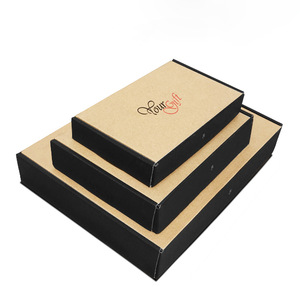 Custom logo printed brown kraft folding corrugated paper carton box packaging clothes for shipping for mailing wholesale