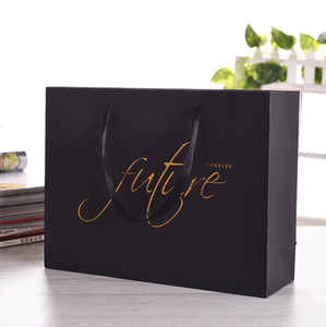 Embossing And Logo Gold Foil Paper Foldable Recycle Bag Shopping