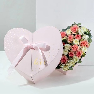 Custom sweet angel  design heart shape flower gift box cardboard packaging with ribbon decoration for rose for chocolate