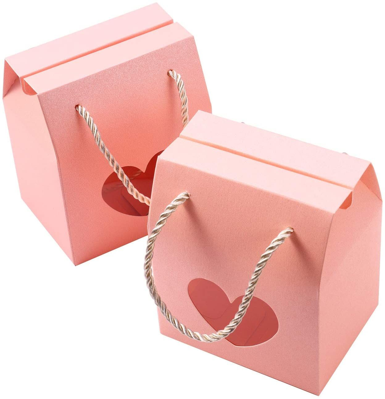 Pink Portable Folding Heart Window Kraft Paper Wrap Candy Gift Boxes With Rope Handle for Wedding Partry Favor Birthday
