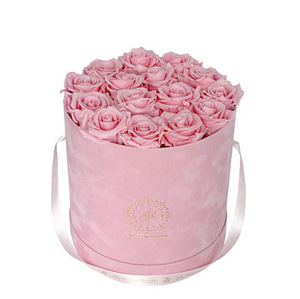 Luxury round hat box wholesale/paper rose box/velvet flower gift box