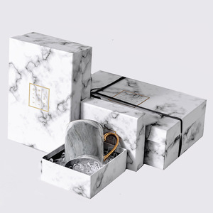 Custom Luxury Ribbon Rectangle Marble Print Gifts Packaging Paper Boxes Carton for Flowers Coffee Mug Perfume Storage