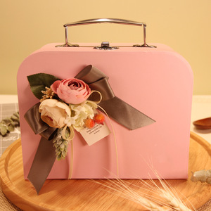 Corrugated Children Gift Packaging Quality Suitcase Handle Gift Box
