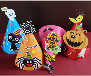 Wholesale Funny Cute Spider Ghost Bat Pumpkin Cat Cone Pattern Halloween Witch Hat for kids Party