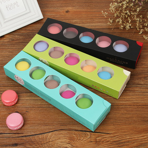 Rectangle Art Paper Pvc Plastic Clear Window 6 Macarons Boxes Packaging For Mooncake Macaron Cake Gift Box