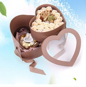 Custom luxury heart shape  clear double-deck  flower box with PVC window  for packaging