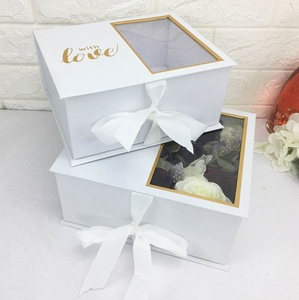 Rectangle shape white  color with PVC windows cardboard luxury packaging box for flower