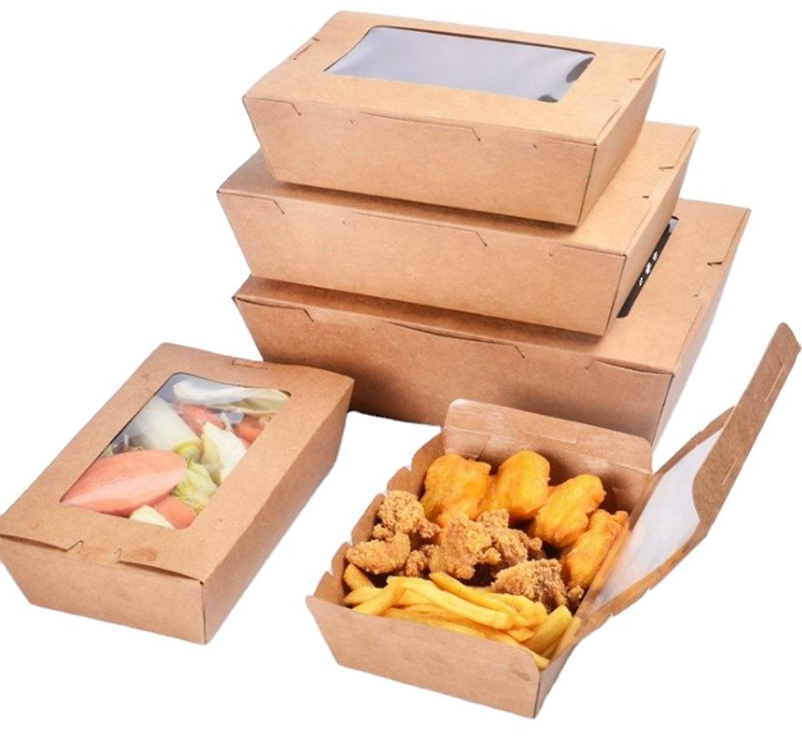 Biodegradable Food Grade Kraft Paper Sushi Takeaway Container Box for Food with Window