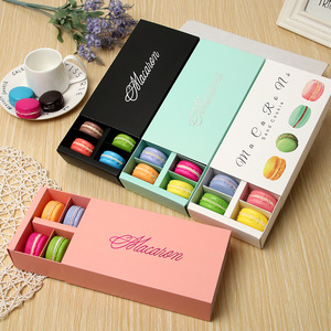 Supplier Rectangle Foldable Drawer Paper Divider Inserts 12 Macarons Packaging With Window Luxury Macaron Gift Box For Laduree