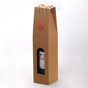 Cardboard Paper Handle Rigid Packaging Box for Wine with Window China Manufacturer