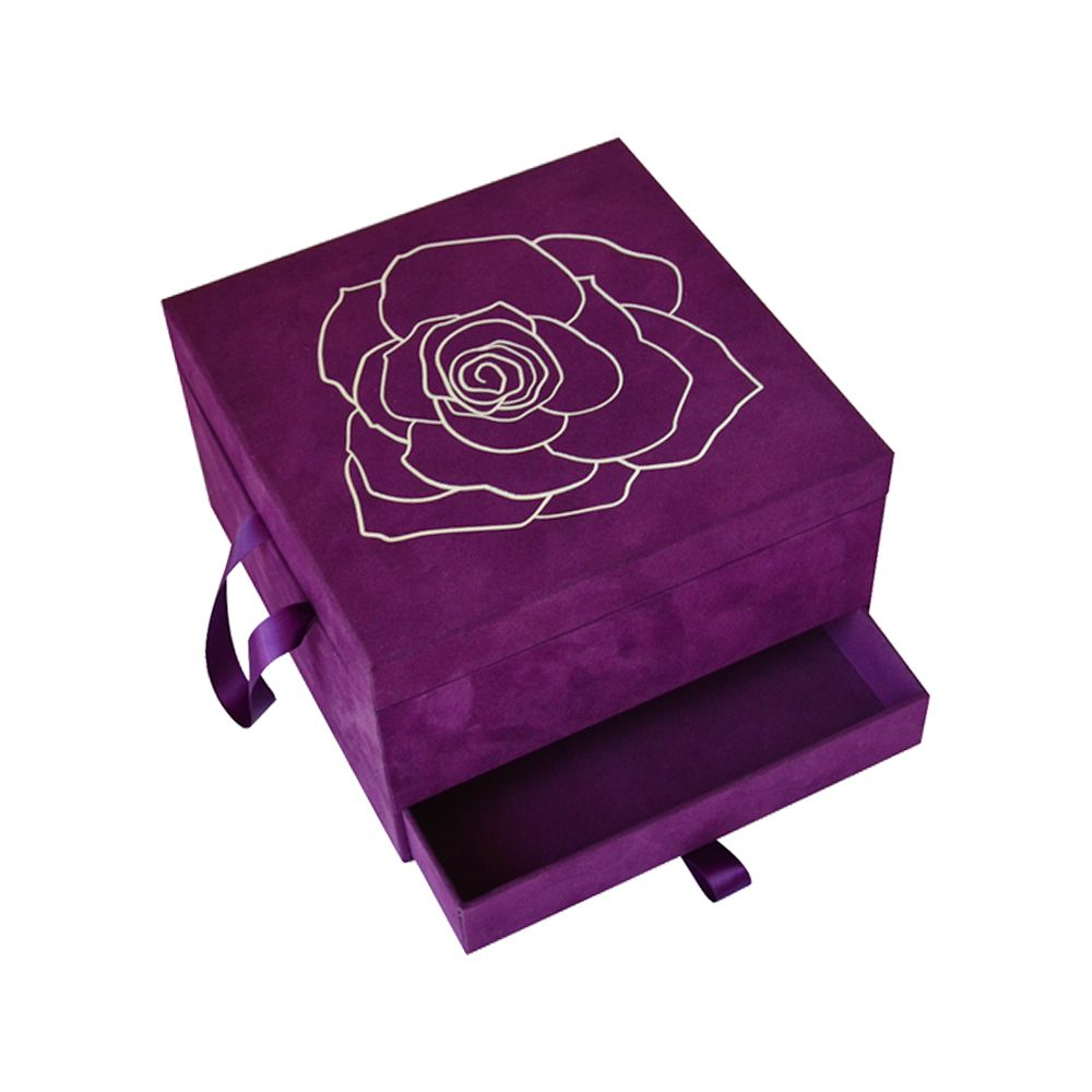 Cosmetics Dual Drawer Velvet Packaging Boxes Storage with Handle Manufacturer