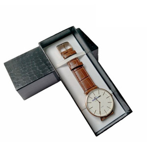 China Customize Luxury Glossy PU Leather Watch Drawer Packaging Box with Belt