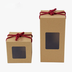 Wholesale Custom Square Rectangle Gift Flower Petal Chinese Packaging Kraft Paper With Pvc Window Tea Presentation Box