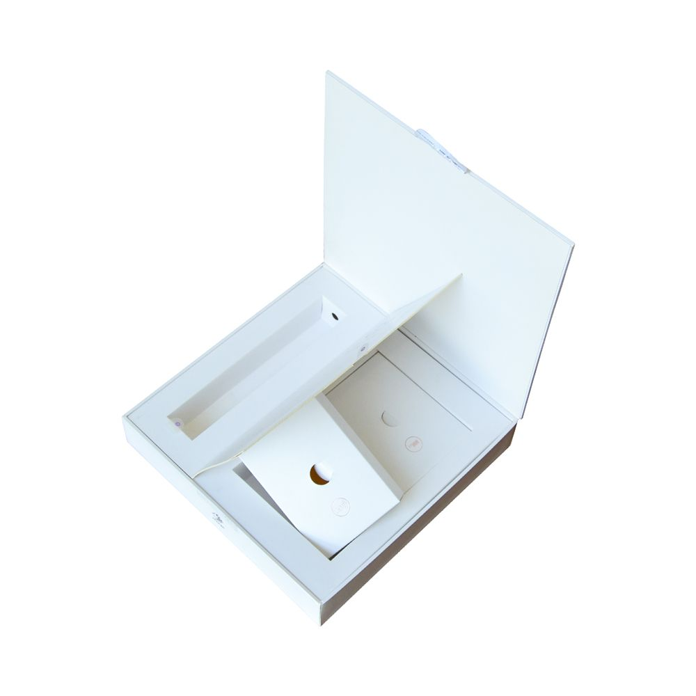 Book Design Cardboard Rigid Paper Cosmetic Boxs with Paper Insert Grid