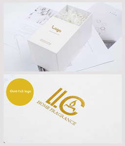 Custom luxury rigid cardboard gold foil printing logo scented candle jar gift packaging white candle boxes for candles