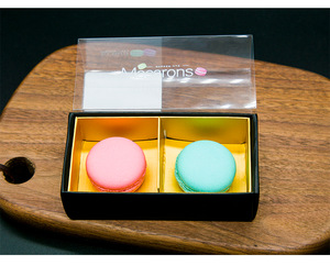 China Supplier Square Folding Clear Sleeve Window Drawer Package Macaron Boxes