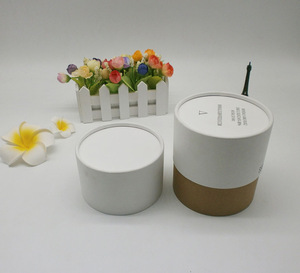 Custom luxury white paper tube candle packaging box rigid kraft with insert for gift wholesale